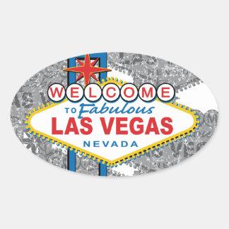 Boa vinda a Las Vegas fabuloso Adesivo Oval
