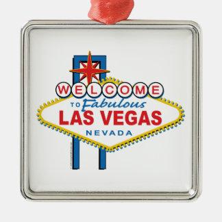 Boa vinda a Las Vegas fabuloso Ornamento Quadrado Cor Prata
