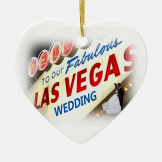 Boa vinda a nosso Las Vegas fabuloso que Wedding o Ornamento De Cerâmica Coração