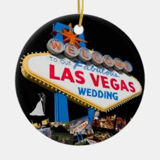 Boa vinda a nosso Las Vegas fabuloso que Wedding o Ornamento De Cerâmica Redondo