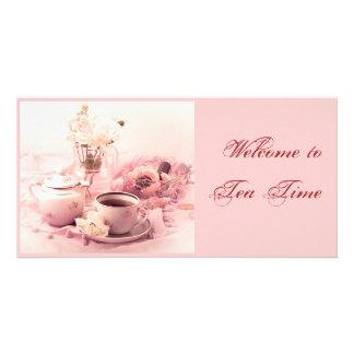 Boa vinda ao tempo do chá… cartão com foto