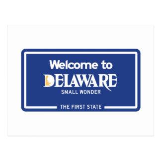 Boa vinda sinal de estrada de Delaware - EUA Cartão Postal