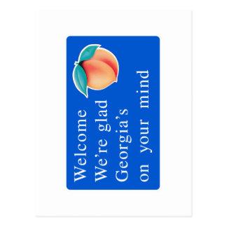 Boa vinda sinal de estrada de Geórgia - EUA Cartão Postal
