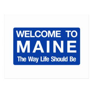 Boa vinda sinal de estrada de Maine - EUA Cartão Postal
