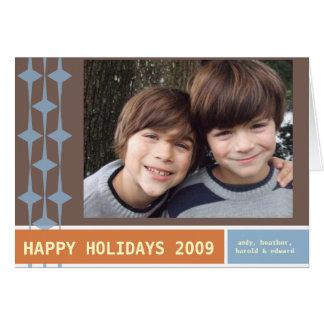 BOAS FESTAS 2009 marrons/azul/laranja Cartão Comemorativo