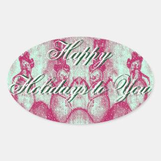 Boas festas a você bonecos de neve adesivo oval