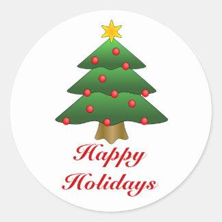 Boas festas, árvore de Natal com luzes Adesivo Redondo