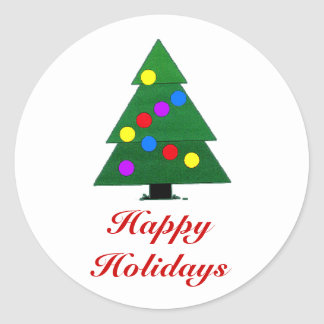 Boas festas, árvore de Natal com luzes Adesivos Em Formato Redondos