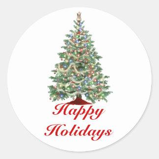 Boas festas, árvore de Natal com luzes Adesivo Em Formato Redondo