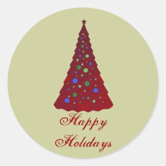 Boas festas, árvore vermelha com bulbos coloridos adesivos redondos