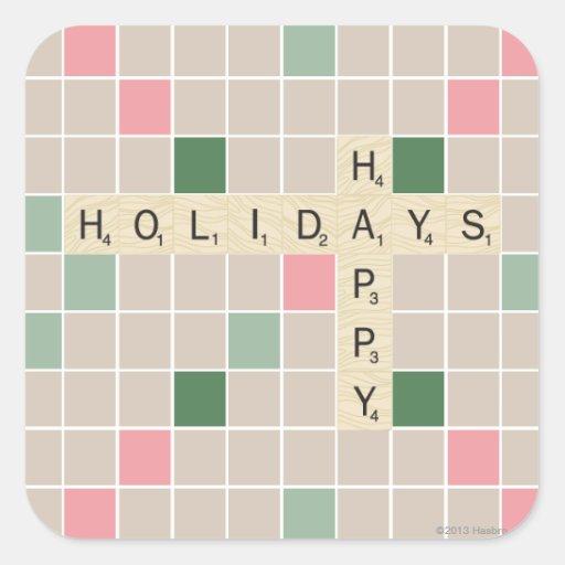 Boas festas adesivo em forma quadrada