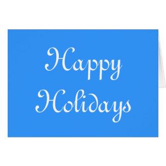 Boas festas. Azul e branco. Festivo Cartão Comemorativo