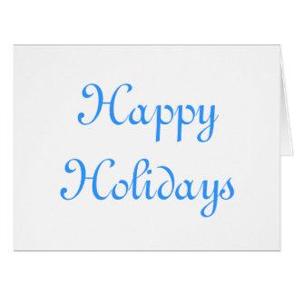 Boas festas. Azul e branco. Festivo Cartão Comemorativo Grande