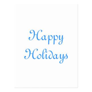 Boas festas. Azul e branco. Festivo Cartão Postal