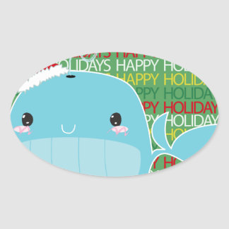 Boas festas baleia adesivo oval