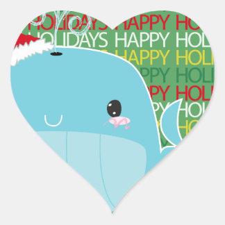 Boas festas baleia adesivo em forma de coração