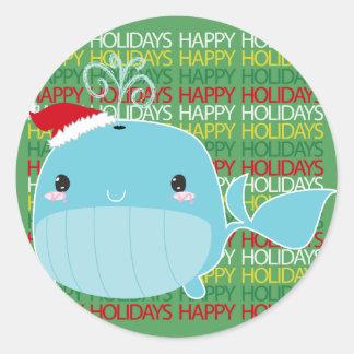 Boas festas baleia adesivo redondo