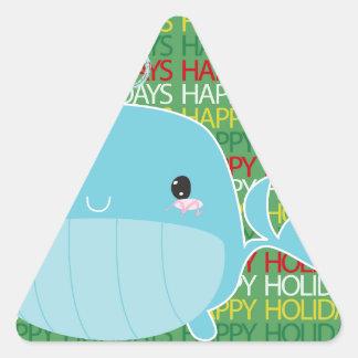 Boas festas baleia adesivo em forma de triângulo