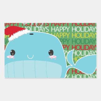 Boas festas baleia adesivo em formato retângular