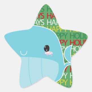 Boas festas baleia adesivos estrelas