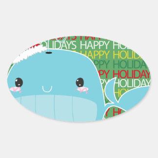 Boas festas baleia adesivos ovais