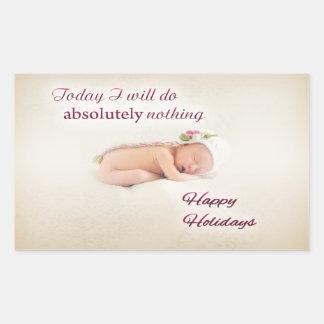 Boas festas bebê de sono adesivo retangular