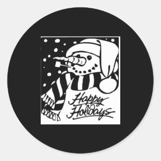 Boas festas, boneco de neve em preto e branco adesivos redondos