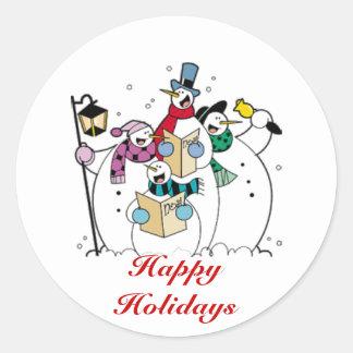 Boas festas, bonecos de neve de Caroling Adesivos Redondos