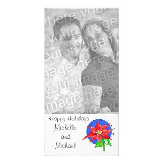 Boas festas cartão com fotos customizável da poins cartão com foto