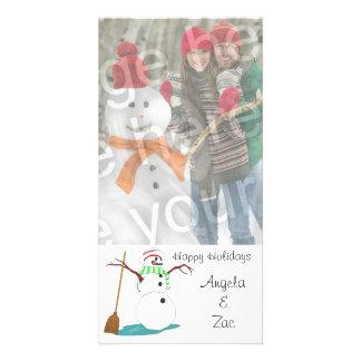 Boas festas cartão com fotos customizável do bonec cartão com foto