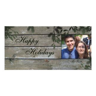 Boas festas cartão com fotos da família - azevinho cartão com foto