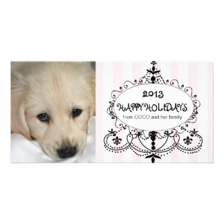 Boas festas cartão com fotos do cão do candelabro