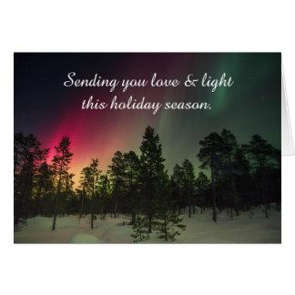 Boas festas cartão da aurora boreal