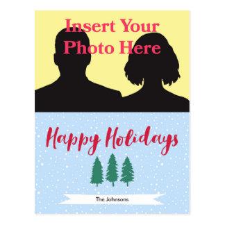 Boas festas cartão das árvores |Photo da neve do Cartão Postal
