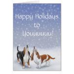 Boas festas cartão dos cães de Basset