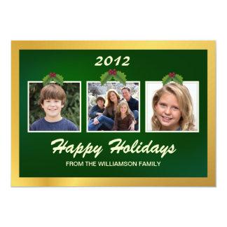 Boas festas cartão liso da família 3-Photo Convite 12.7 X 17.78cm