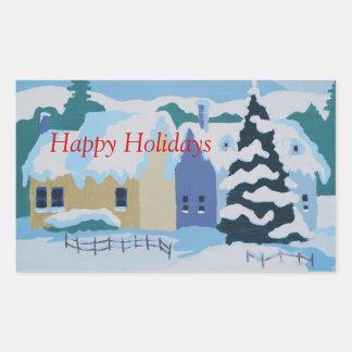 Boas festas, casas em snowscene. adesivo retangular