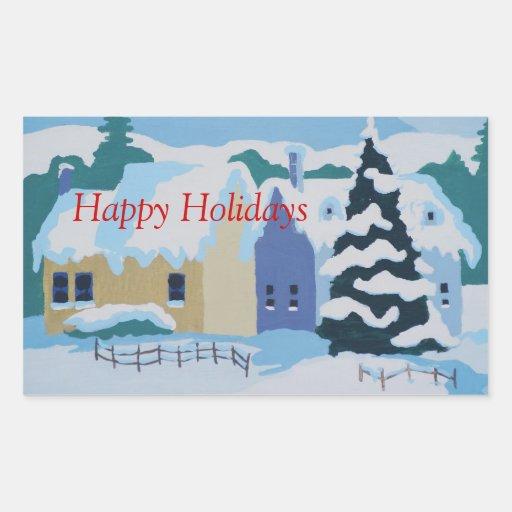 Boas festas, casas em snowscene. adesivo em forma retangular