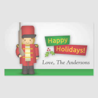 Boas festas com o soldado de brinquedo do Natal Adesivo Retangular