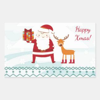 Boas festas com Papai Noel e Rudolf Adesivo Retangular