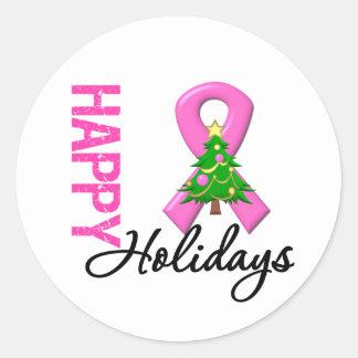 Boas festas consciência do cancro da mama adesivos em formato redondos