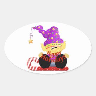 Boas festas duende (2) adesivos oval