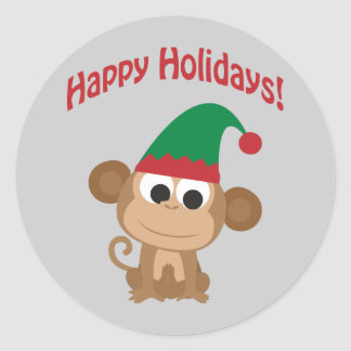 Boas festas! Duende do Natal do macaco Adesivo