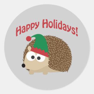 Boas festas! Duende do ouriço Adesivo