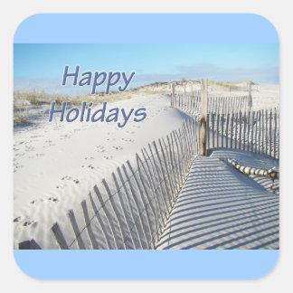 Boas festas dunas e cercas de areia adesivo quadrado