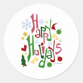 Boas festas estilo festivo adesivos em formato redondos