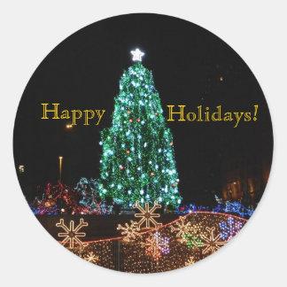 Boas festas etiqueta da árvore adesivos em formato redondos