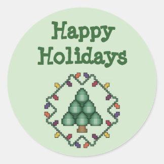 Boas festas etiqueta da árvore de Natal Adesivo Em Formato Redondo