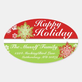 Boas festas etiqueta do endereço adesivos em formato ovais