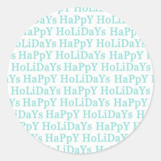 Boas festas etiqueta do Natal do Aqua Adesivo Redondo